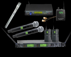Wireless Microphones, Monitors, and other Audio Gear