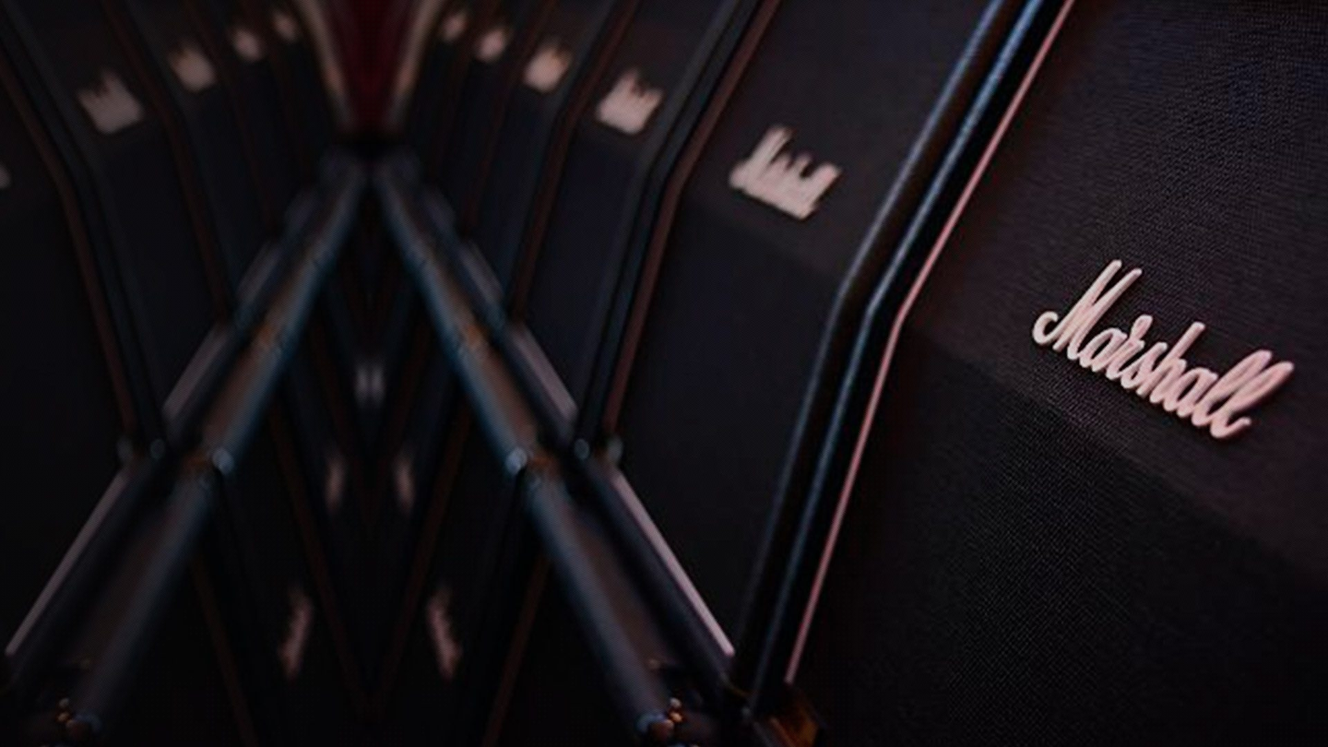 many Marshall Speaker cabinets in a row