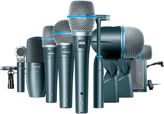 variety of Shure microphones