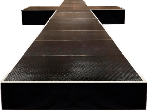 a cut out view of a runway stage in a T shape