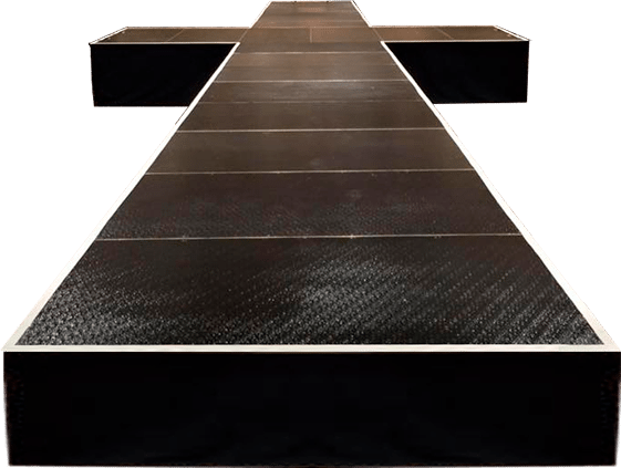 a cut out view of a StageRight runway stage in a T shape