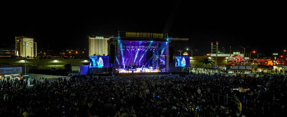 wide angle view of outdoor concert with Carrie Underwood on stage using AV Vegas production equipment