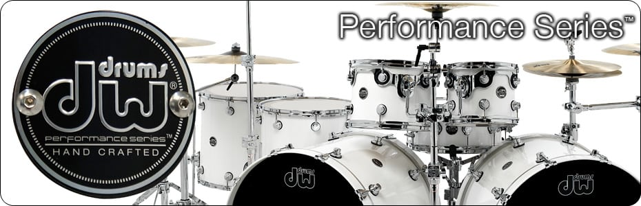 White DW Drum Kit with DW logo
