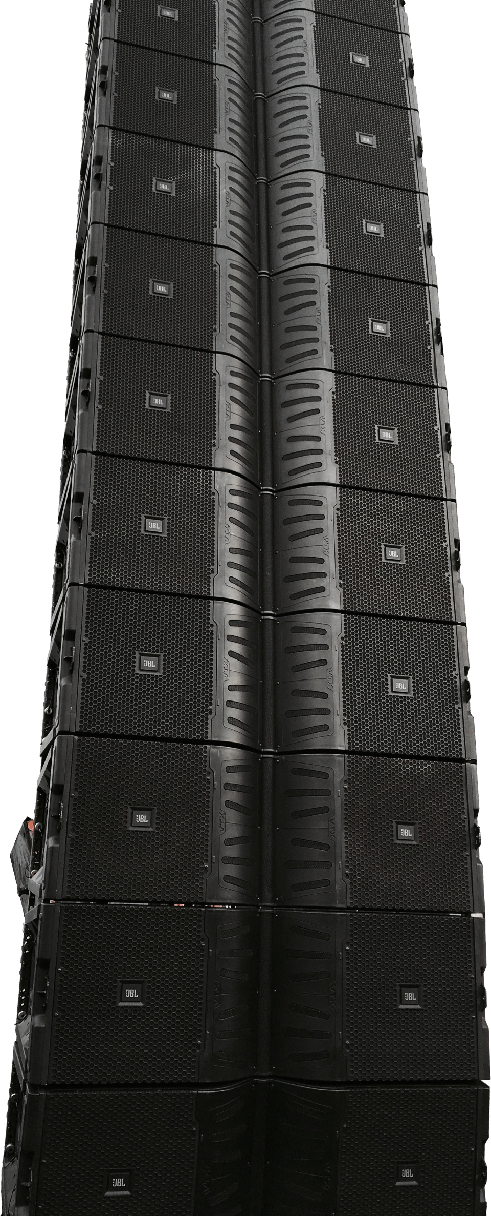 one hanging line array of JBL V25 speaker boxes