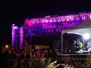 Starting line truss arch for Las Vegas Rock n Roll Marathon, lit with colorful LED lights