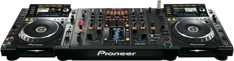 2x Pioneer CDJ-2000's with a DJM-2000 mixer