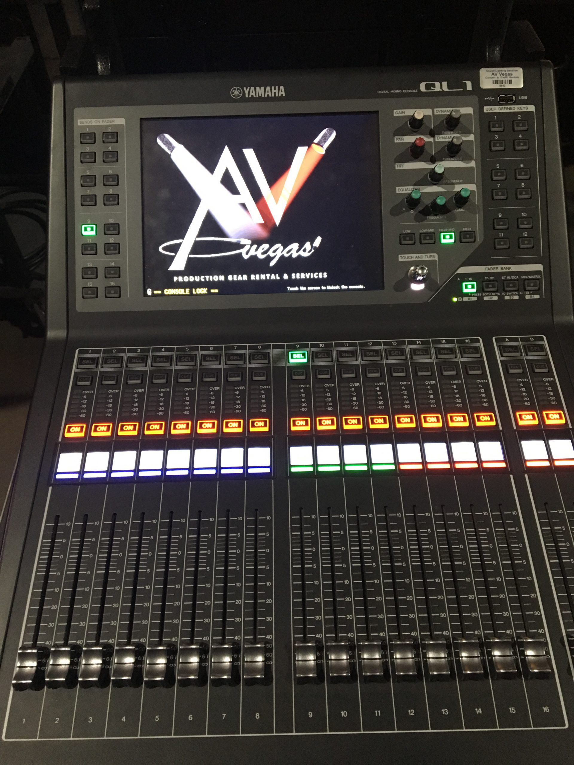 Digital audio console with AV Vegas logo programmed into it