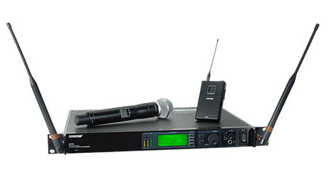 Front view of Shure UHF-r wireless microphone system