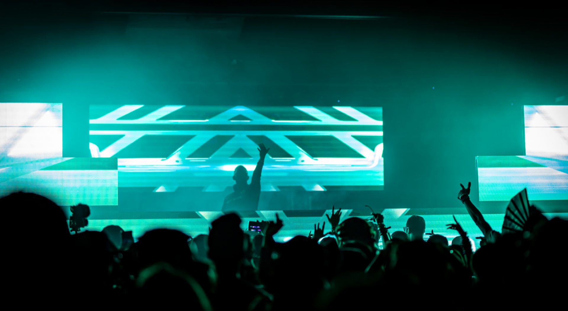 crowd dances as DJ reaches out from the stage with a green video wall behind him